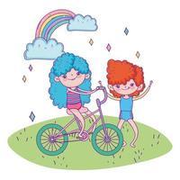 feliz dia das crianças, menina andando de bicicleta e desenho animado ao ar livre de menino vetor