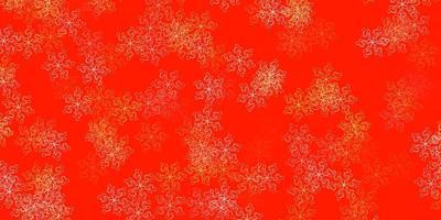padrão de doodle de vetor laranja claro com flores.