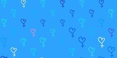 fundo vector rosa claro, azul com símbolos de mulher.