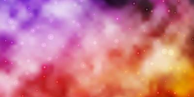 layout de vetor rosa claro roxo com estrelas brilhantes.