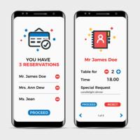Aplicação de reserva de restaurantes vetor