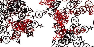 textura vector vermelho claro com símbolos dos direitos das mulheres.