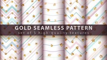 conjunto de padrão sem emenda glitter princesa ouro vetor