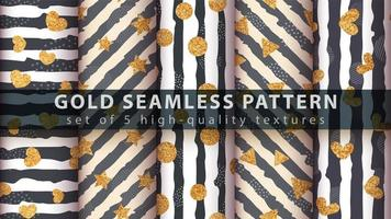 conjunto padrão ouro glitter moderno sem costura vetor