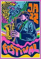 Cartaz de concertos psicodélicos Música de jazz