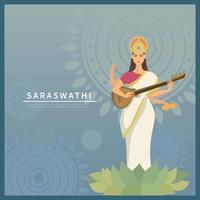 Deusa Saraswati Com Ilustração De Fundo Azul vetor