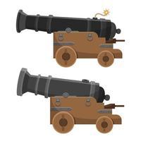 ilustração de desenho vetorial de canhão antigo isolada no fundo branco vetor