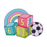 desenhos animados de bola de futebol de blocos de cubo de brinquedos vetor