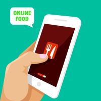 Smartphone tocando mão, abrindo o aplicativo de comida vetor