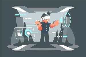 Ilustração da experiência da realidade virtual vetor
