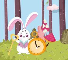 país das maravilhas, coelho com chave e floresta do relógio