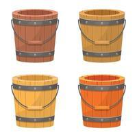 ilustração de desenho vetorial de balde de madeira velha isolada no fundo branco vetor