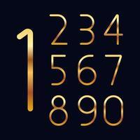 ilustração de desenho vetorial de números dourados isolada em fundo preto vetor