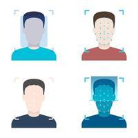 ilustração de desenho vetorial de desbloqueio de verificação facial isolada no fundo branco