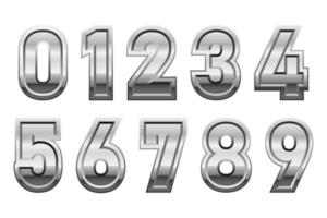 ilustração de desenho vetorial de números metálicos isolada no fundo branco vetor