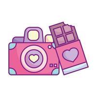 feliz dia dos namorados, câmera fotográfica barra de chocolate amor vetor