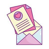 feliz dia dos namorados, celebração romântica do envelope da carta da mensagem vetor