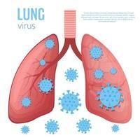 ilustração em vetor doença pulmonar isolada no fundo branco