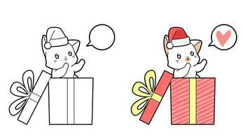 desenho de gato na caixa para colorir para crianças