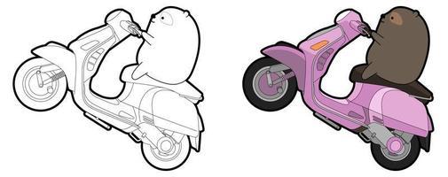 urso bonito está montando um desenho animado de moto para colorir facilmente para crianças