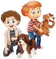 dois meninos brincando com seus cachorros isolados no fundo branco vetor
