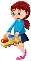 garota feliz segurando um brinquedo vetor