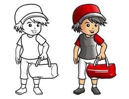 página para colorir dos desenhos animados do homem do esporte para crianças vetor