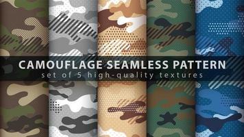 conjunto de fundo padrão militar camuflagem sem costura vetor