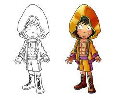 página para colorir bonito dos desenhos animados do homem boxe para crianças