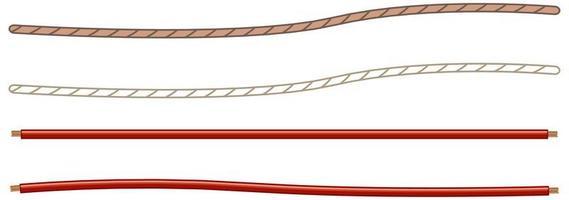 cabos de alimentação e cordas isolados no fundo branco vetor
