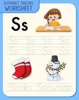 planilha de rastreamento do alfabeto com as letras s e s vetor