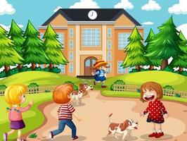 cena ao ar livre com muitas crianças brincando na frente da casa vetor