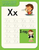 planilha de rastreamento de alfabeto com letras e vocabulário vetor
