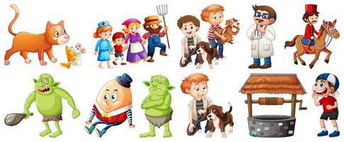 conjunto de personagens de rimas infantis diferentes isolado no fundo branco