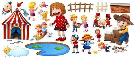 conjunto de personagens de rimas infantis diferentes isolado no fundo branco vetor