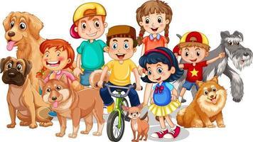 grupo de crianças com seus cachorros em fundo branco vetor