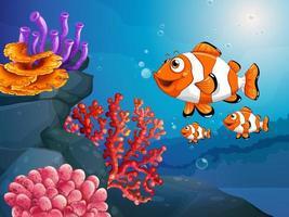 muitos peixes exóticos personagem de desenho animado na cena subaquática com corais vetor