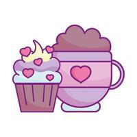 feliz dia dos namorados, doce cupcake chocoalte copo de corações amor vetor