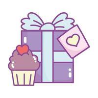 feliz dia dos namorados, caixa de presente e celebração do amor do coração do queque doce vetor