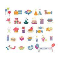 Conjunto de elementos de festa de aniversário retrô vetor