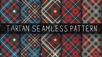 conjunto de fundo tartan star seamless pattern