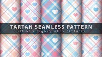 conjunto de fundo de padrão sem emenda tartan definido com formas de coração