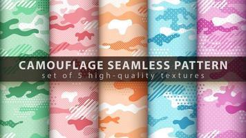 definir pixel camuflagem militar sem costura de fundo vetor
