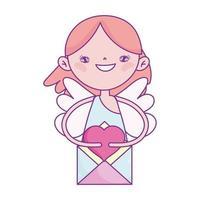 feliz dia dos namorados, cupido fofo com mail love romantic cartoon