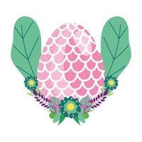 ovo de páscoa feliz decorado com forma de flores de escamas de peixe