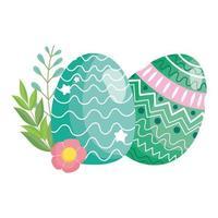 feliz Páscoa ovos delicados decoração flores ornamento vetor