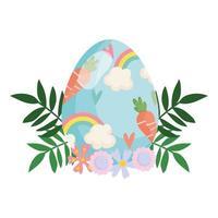 feliz páscoa pintada de ovo com cenoura e decoração floral com flores de arco-íris