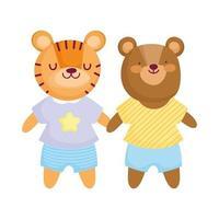urso fofo e tigre com personagens de desenho animado de animais de roupas vetor