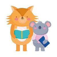 de volta às aulas, coala lendo livro coala com desenho de bloco de notas vetor