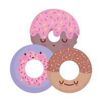 doce donuts menu personagem desenho animado comida fofa vetor